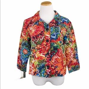 Chico's Silk Blend Bright Floral 3/4 Sleeve Jacket